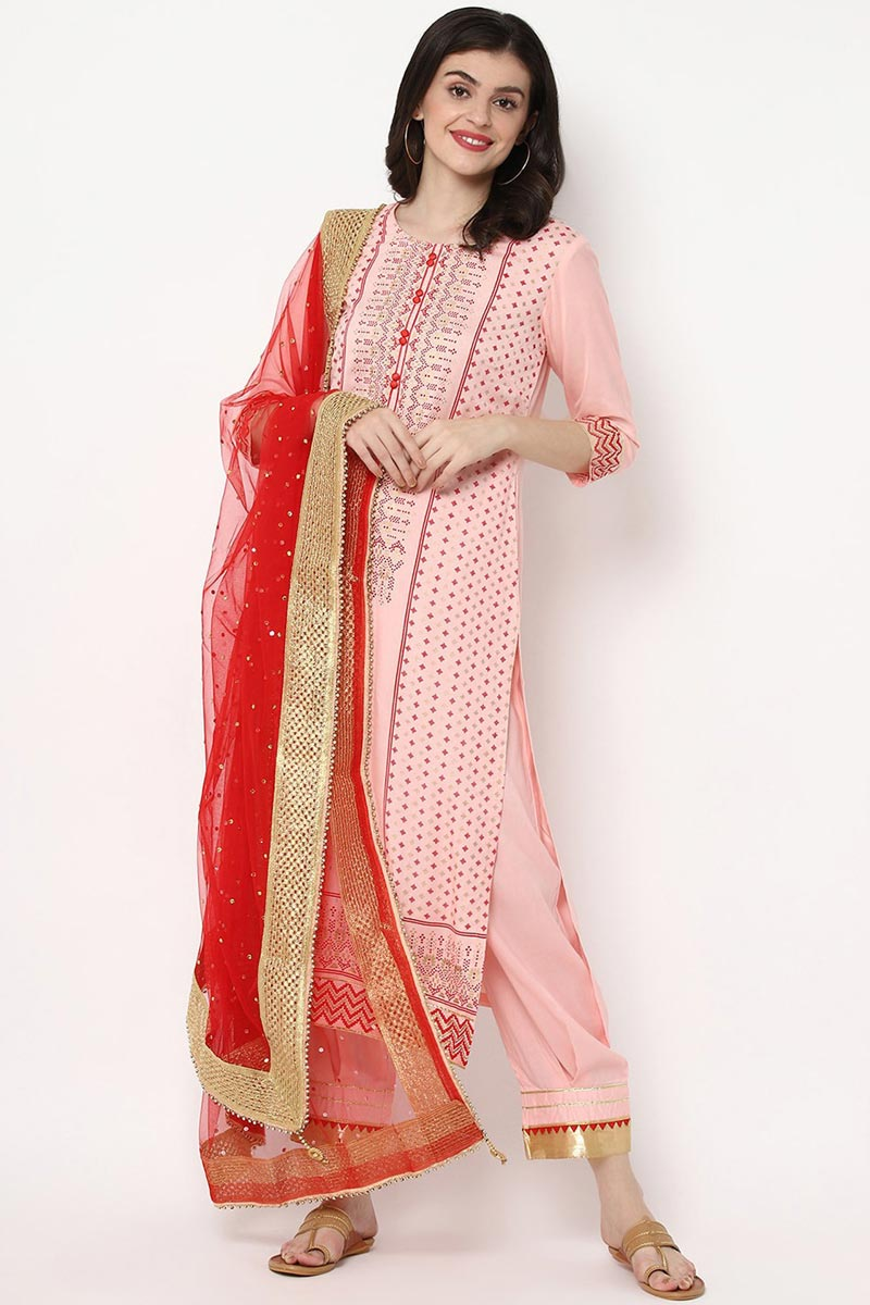 Exclusive Pink Color Rayon Fabric Kurti Pant Dupatta Set