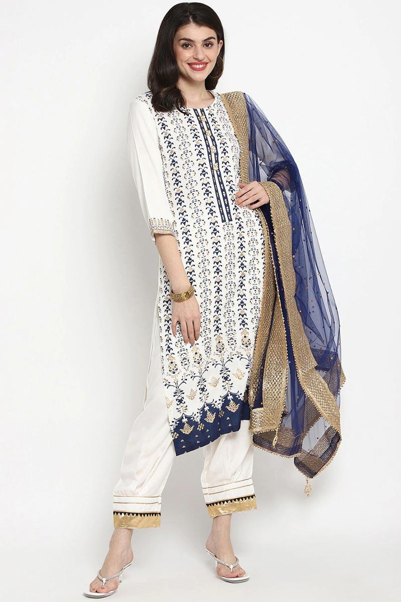 Exclusive Off White Color Rayon Fabric Kurti Pant Dupatta Set