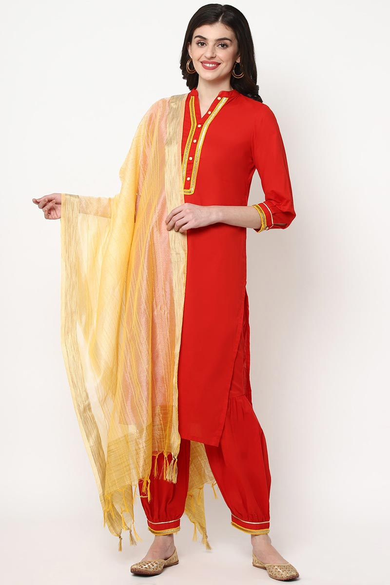 Exclusive Red Color Cotton Fabric Fancy Kurti With Palazzo Dupatta Set