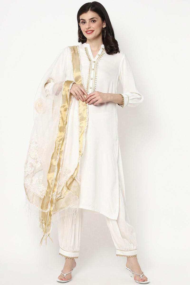 Exclusive White Color Rayon Fabric Kurti Pant Dupatta Set