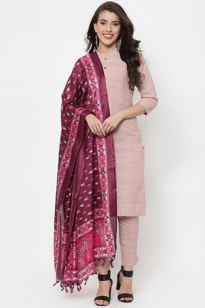 Exclusive Pink Color Cotton Fabric Solid Kurti With Trousers And Dupatta