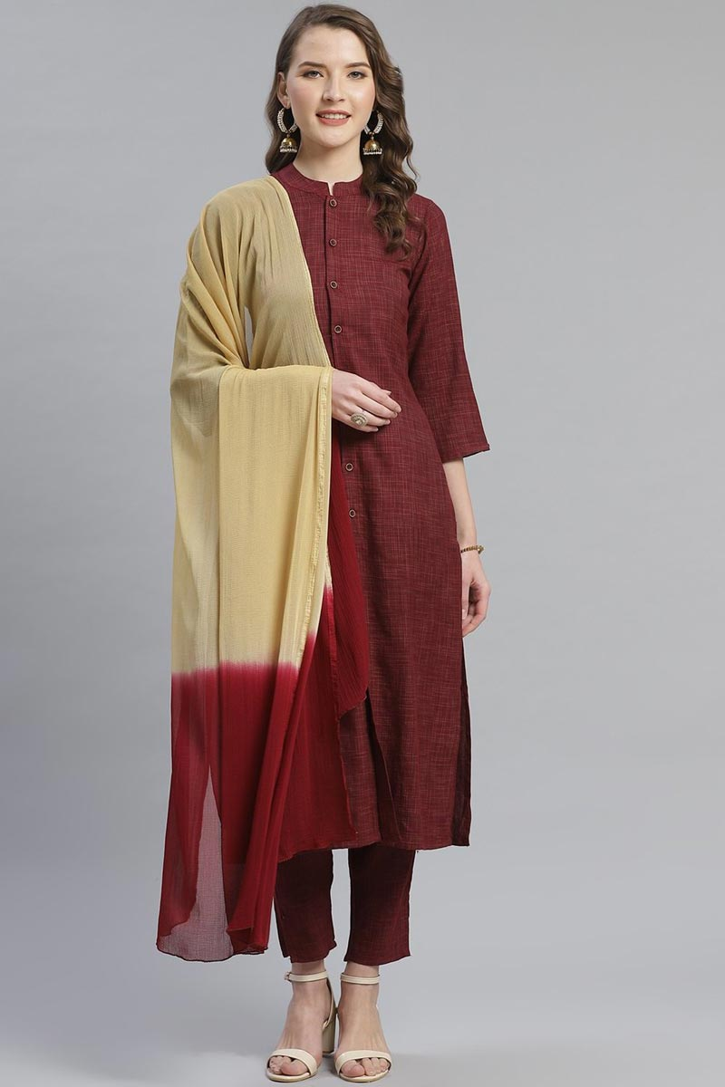 Exclusive Maroon Color Rayon Fabric Self Checked Kurti With Trousers And Dupatta