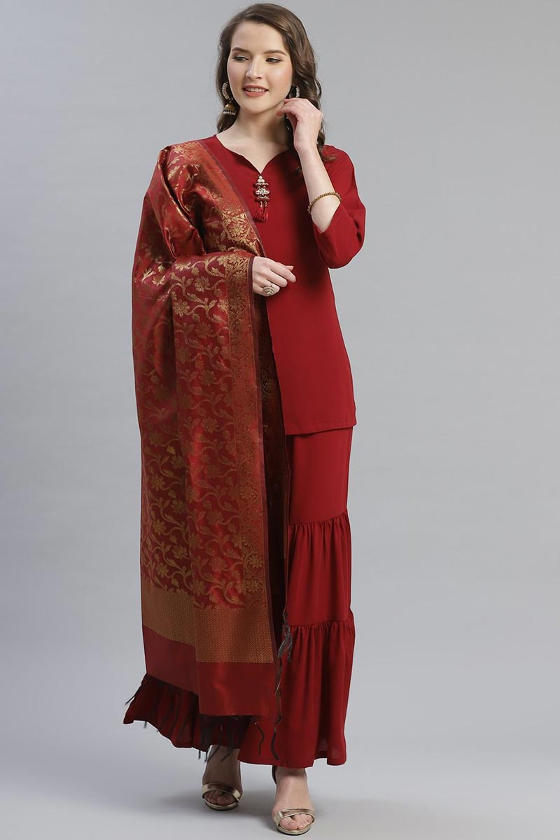 Exclusive Red Color Fancy Fabric Solid Kurti With Sharara And Woven Design Dupatta