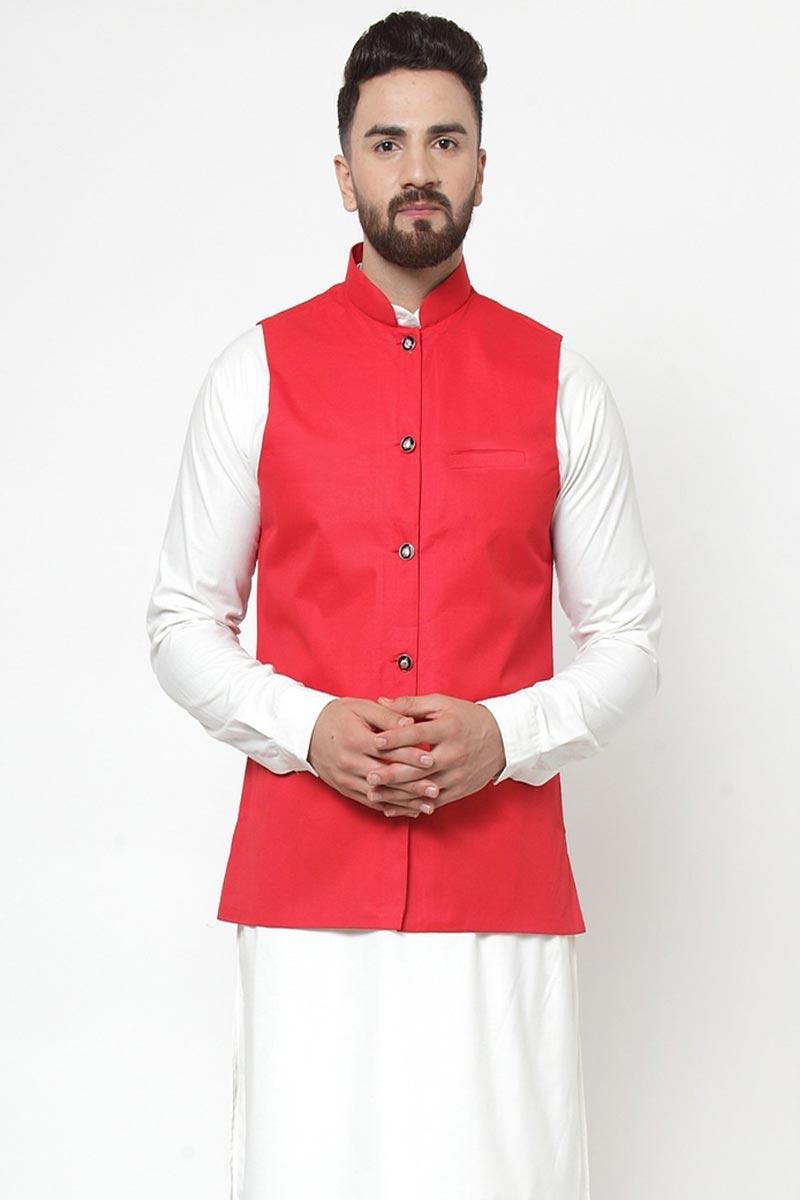 Red Color Cotton Fabric Designer Jacket
