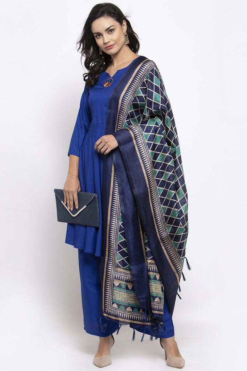 Exclusive Blue Color Solid Palazzo Suit In Rayon Fabric