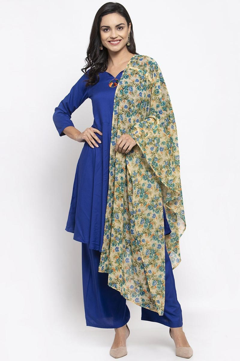 Exclusive Rayon Fabric Solid Palazzo Dress In Blue Color