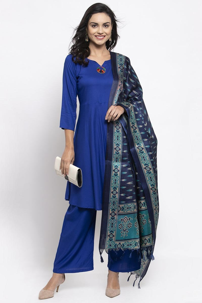 Exclusive Rayon Fabric Blue Color Solid Palazzo Suit