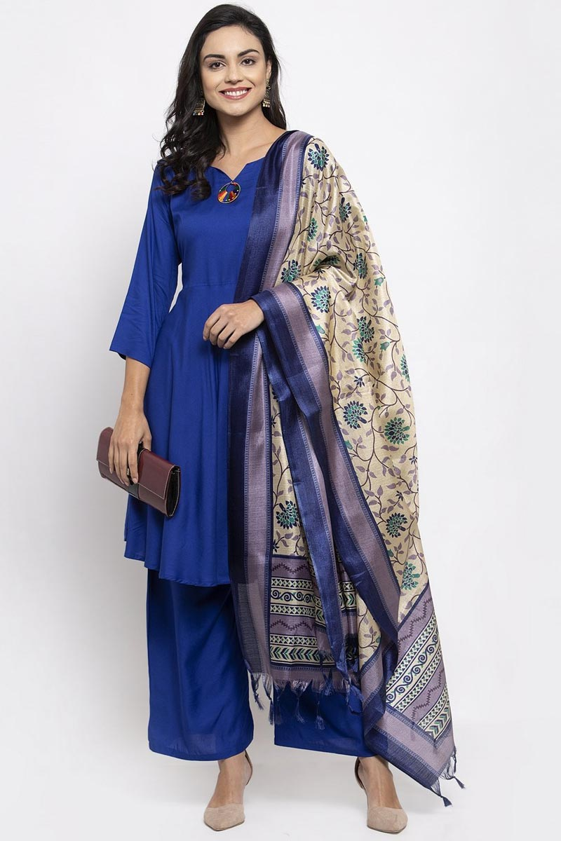 Exclusive Blue Color Rayon Fabric Solid Palazzo Dress