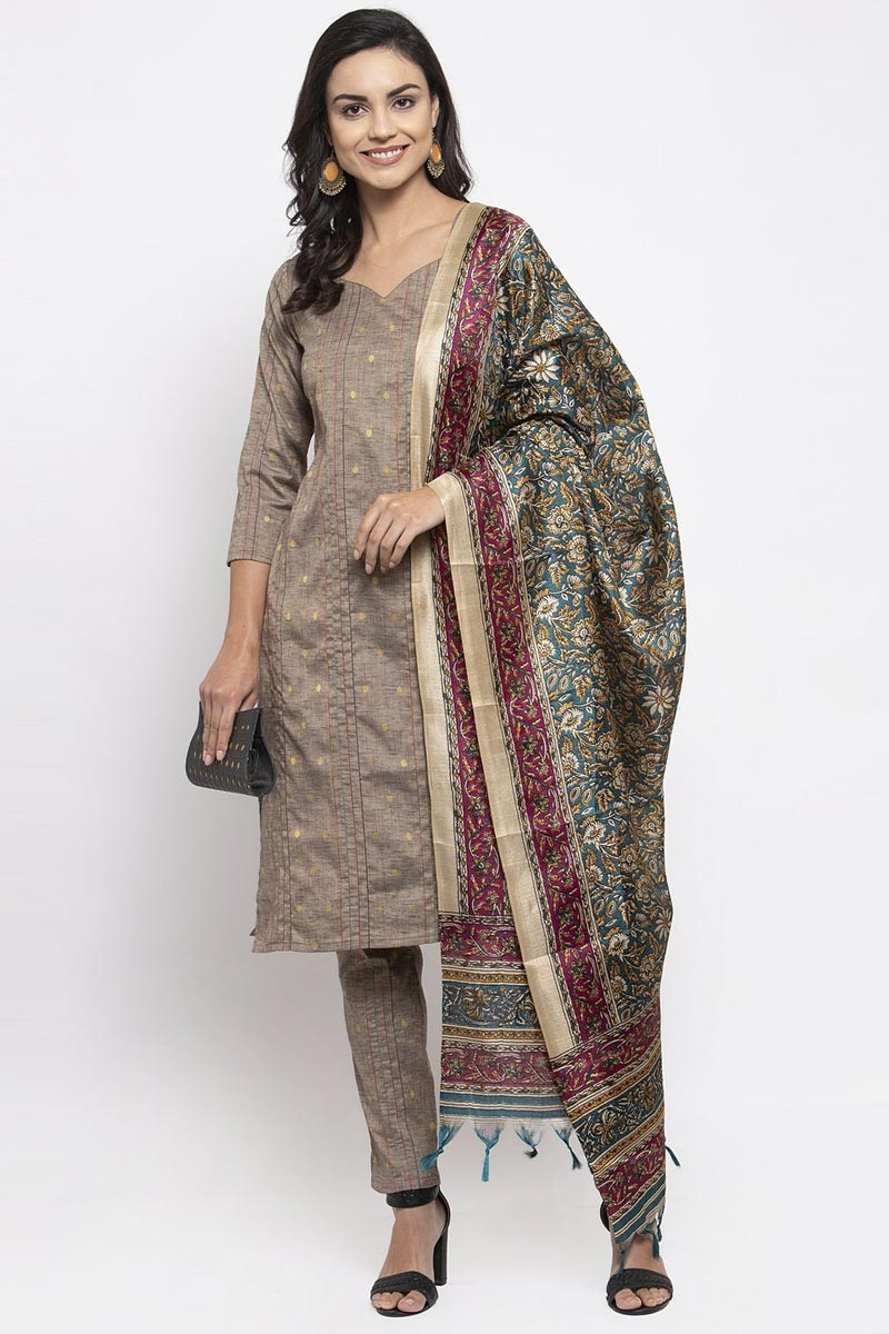 Exclusive Striped Cotton Fabric Salwar Suit In Cream Color