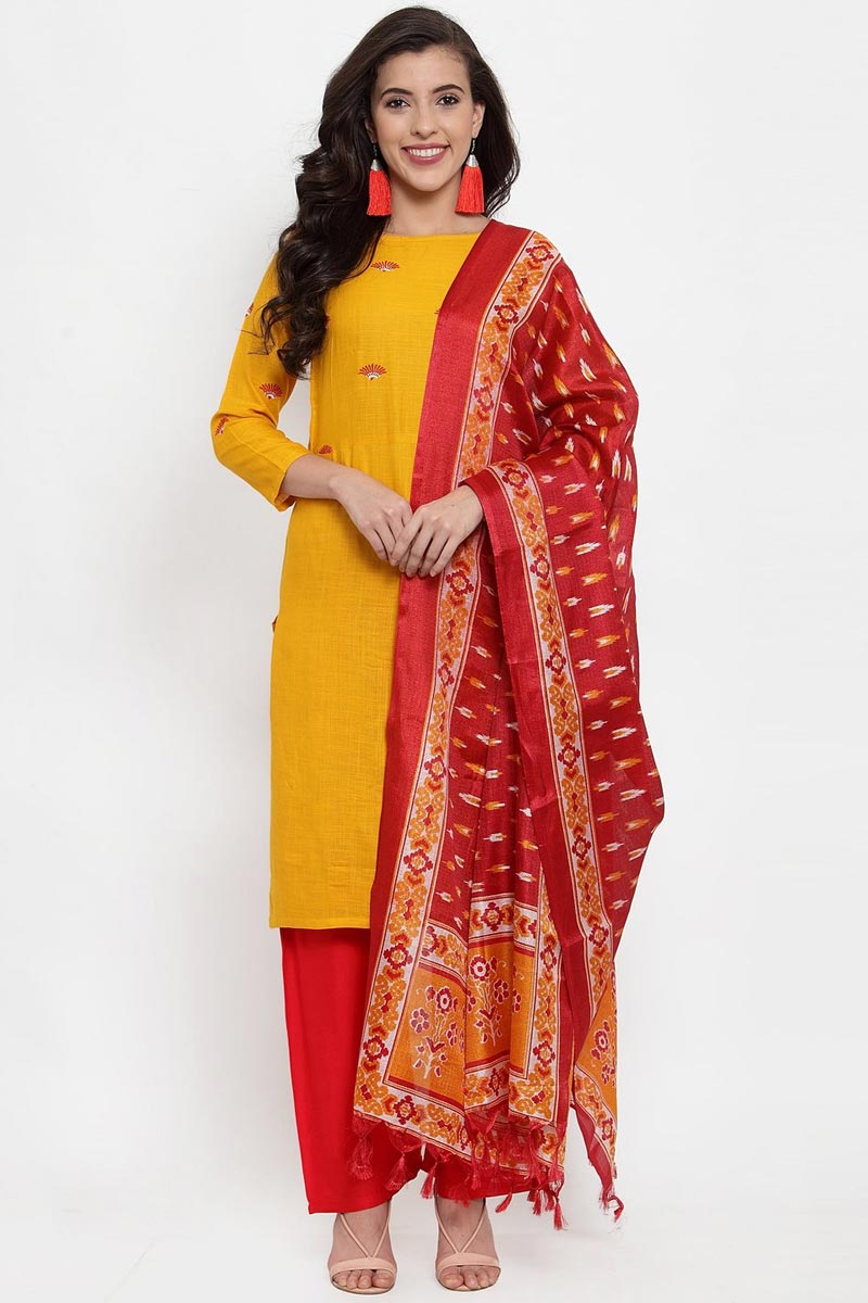 Exclusive Mustard Color Rayon Fabric Palazzo Salwar Suit
