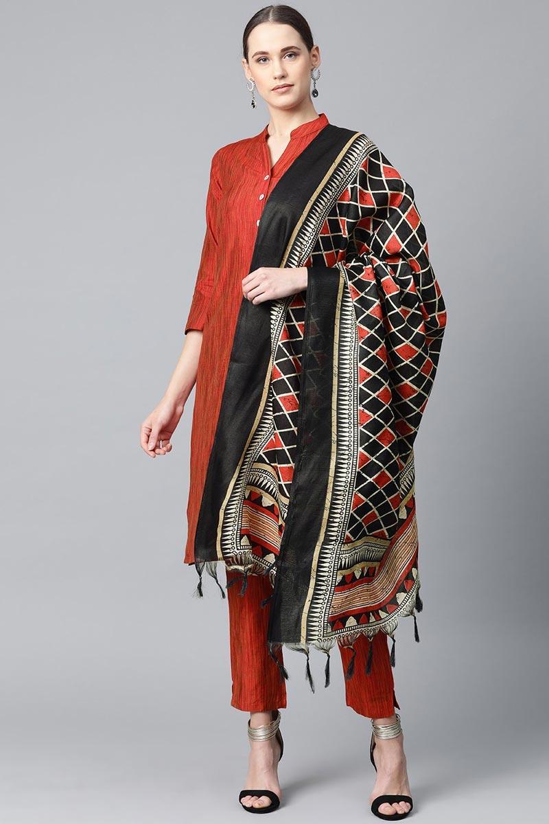 Exclusive Cotton Fabric Red Color Fancy Salwar Suit