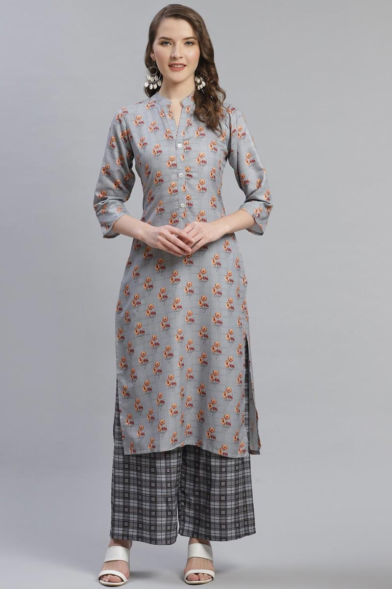 Exclusive Festive Wear Fancy Rayon Fabric Grey Color Kurti With Palazzo
