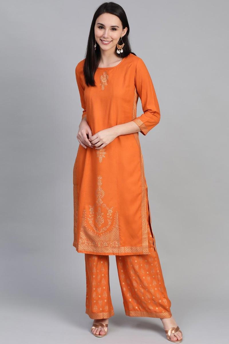 Exclusive Rayon Fabric Festive Wear Fancy Orange Color Kurti With Palazzo