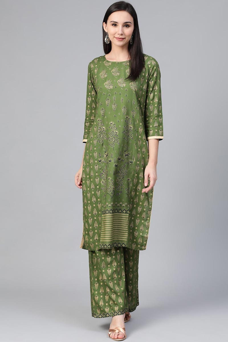 Exclusive Green Color Festive Wear Fancy Rayon Fabric Kurti With Palazzo