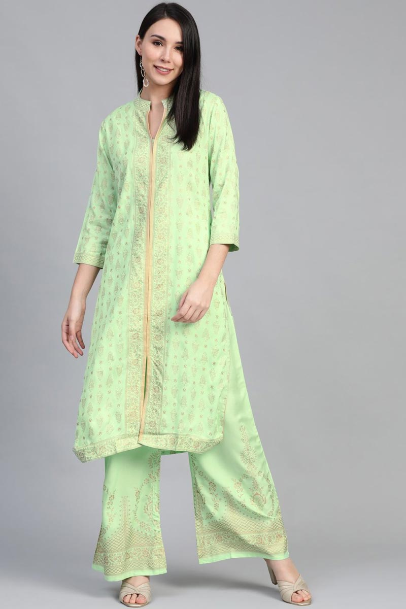 Exclusive Festive Wear Fancy Rayon Fabric Sea Green Color Kurti With Palazzo