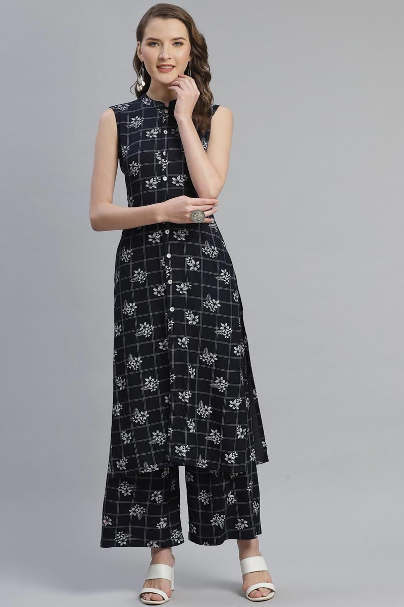 Exclusive Rayon Fabric Festive Wear Fancy Black Color Kurti With Palazzo