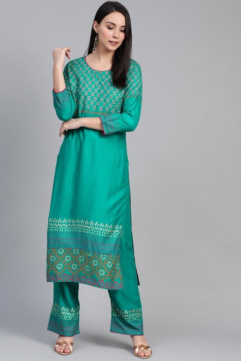 Exclusive Cyan Color Festive Wear Fancy Rayon Fabric Kurti With Palazzo