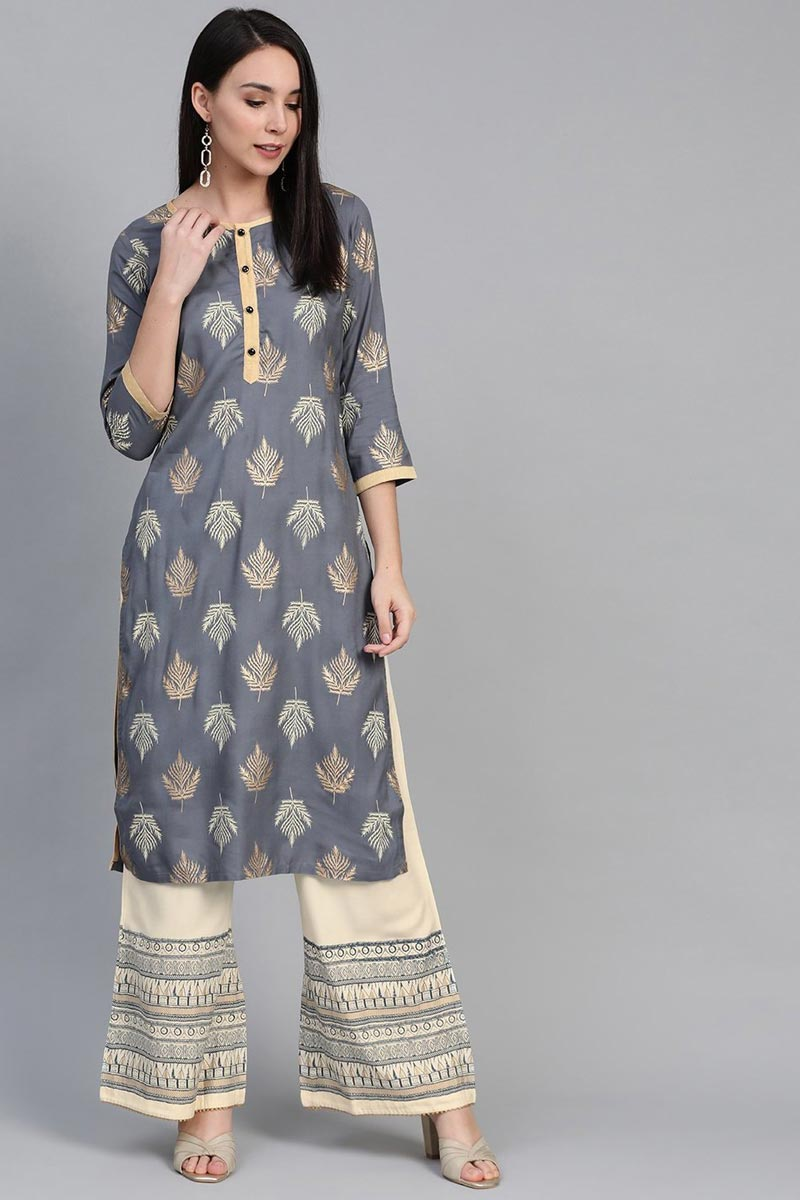 Exclusive Grey Color Festive Wear Fancy Rayon Fabric Kurti With Palazzo