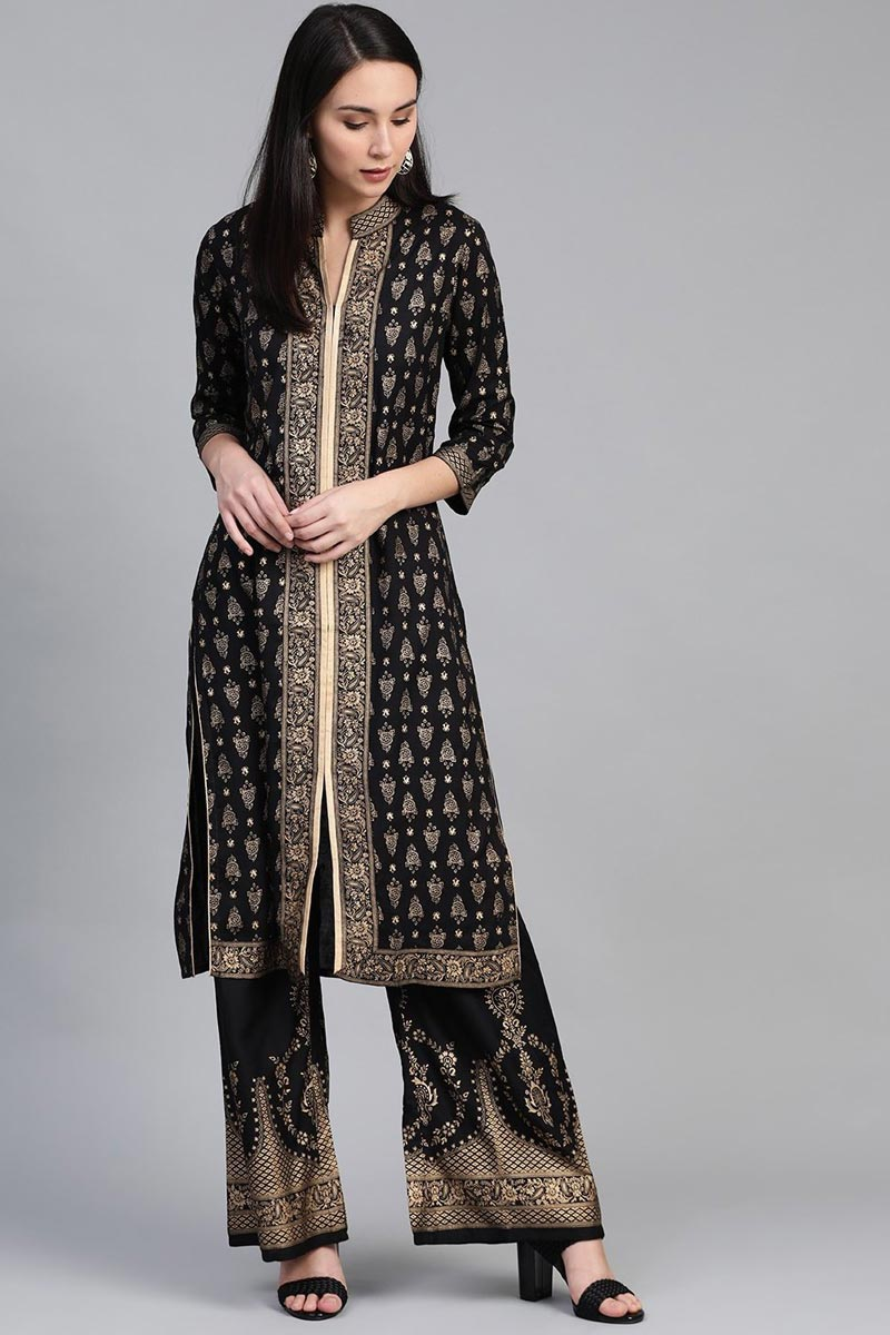 Exclusive Festive Wear Fancy Rayon Fabric Black Color Kurti With Palazzo