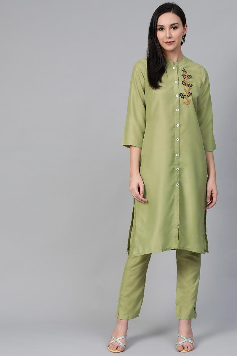 Exclusive Cotton Fabric Festive Wear Fancy Green Color Kurti With Palazzo
