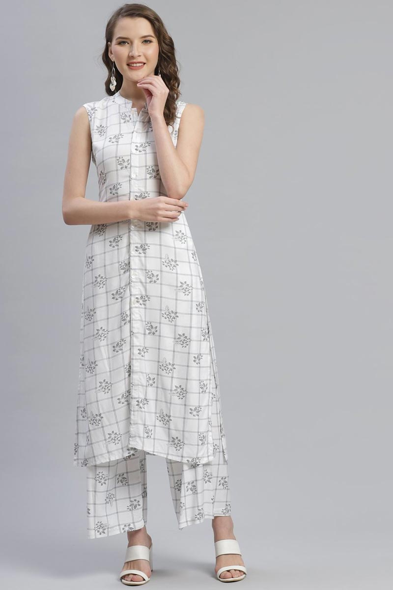 Exclusive White Color Festive Wear Fancy Rayon Fabric Kurti With Palazzo