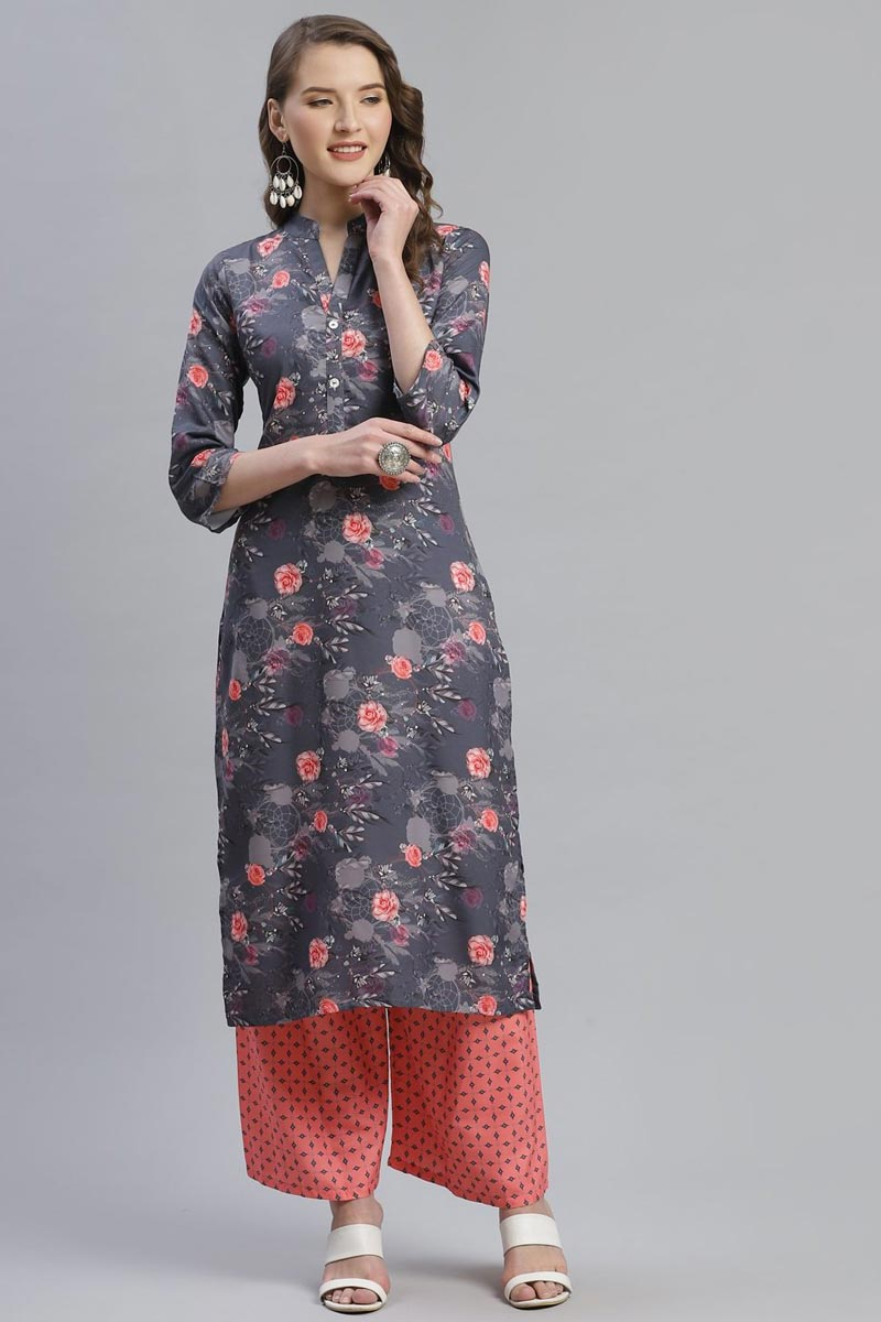 Exclusive Festive Wear Fancy Rayon Fabric Kurti With Palazzo In Grey Color