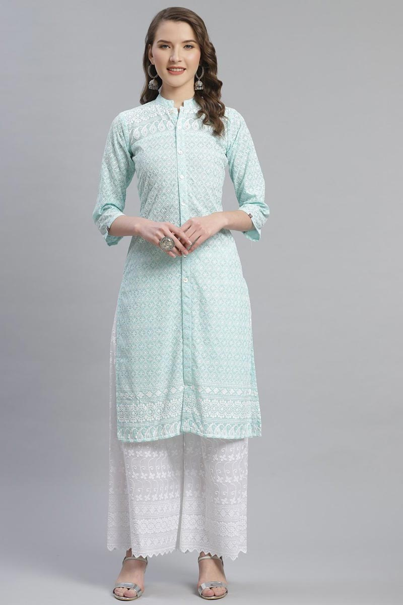 Exclusive Sea Green Color Festive Wear Fancy Cotton Fabric Kurti With Palazzo