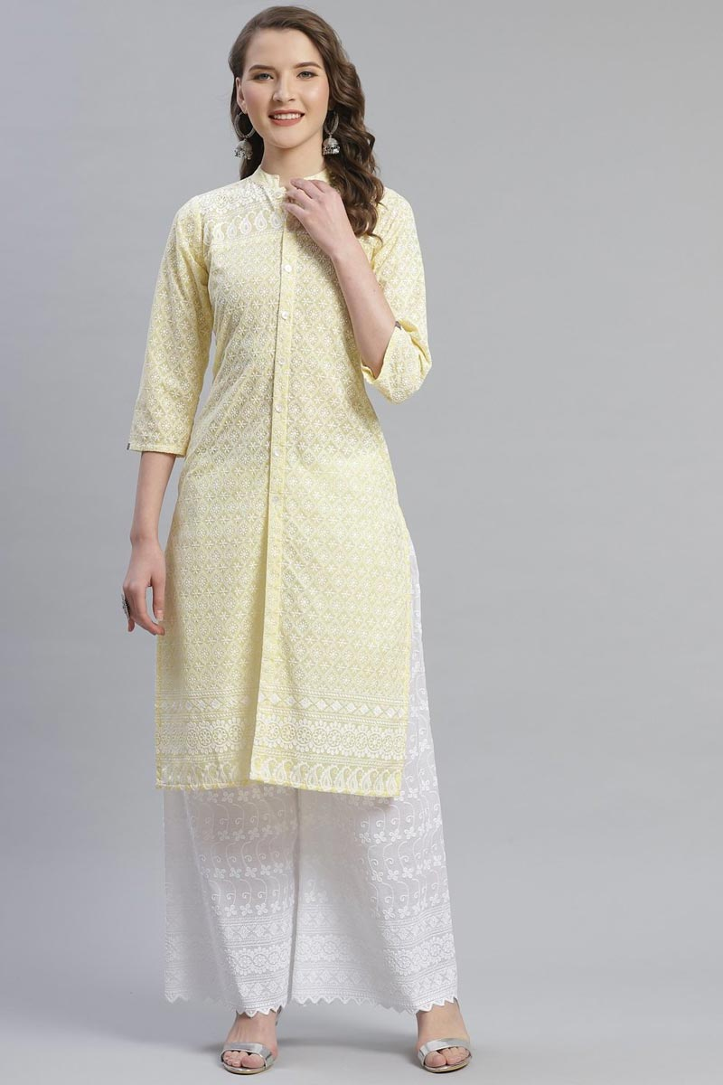 Exclusive Festive Wear Fancy Cotton Fabric Beige Color Kurti With Palazzo