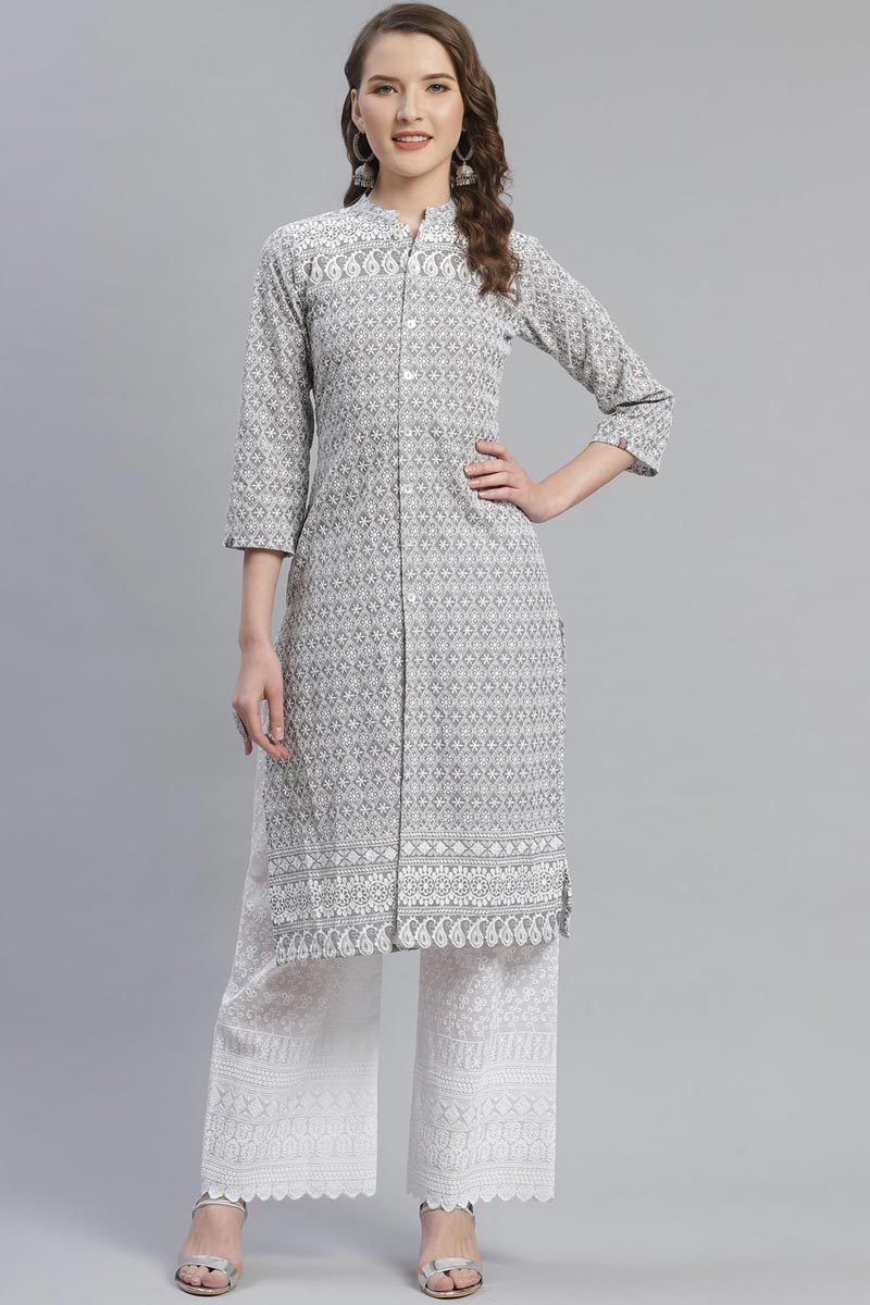 Exclusive Cotton Fabric Festive Wear Fancy Grey Color Kurti With Palazzo