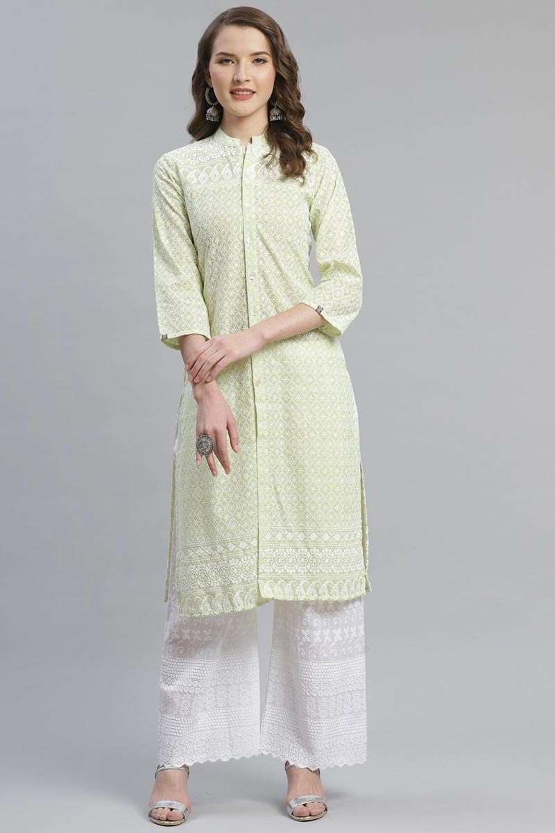 Exclusive Yellow Color Festive Wear Fancy Cotton Fabric Kurti With Palazzo