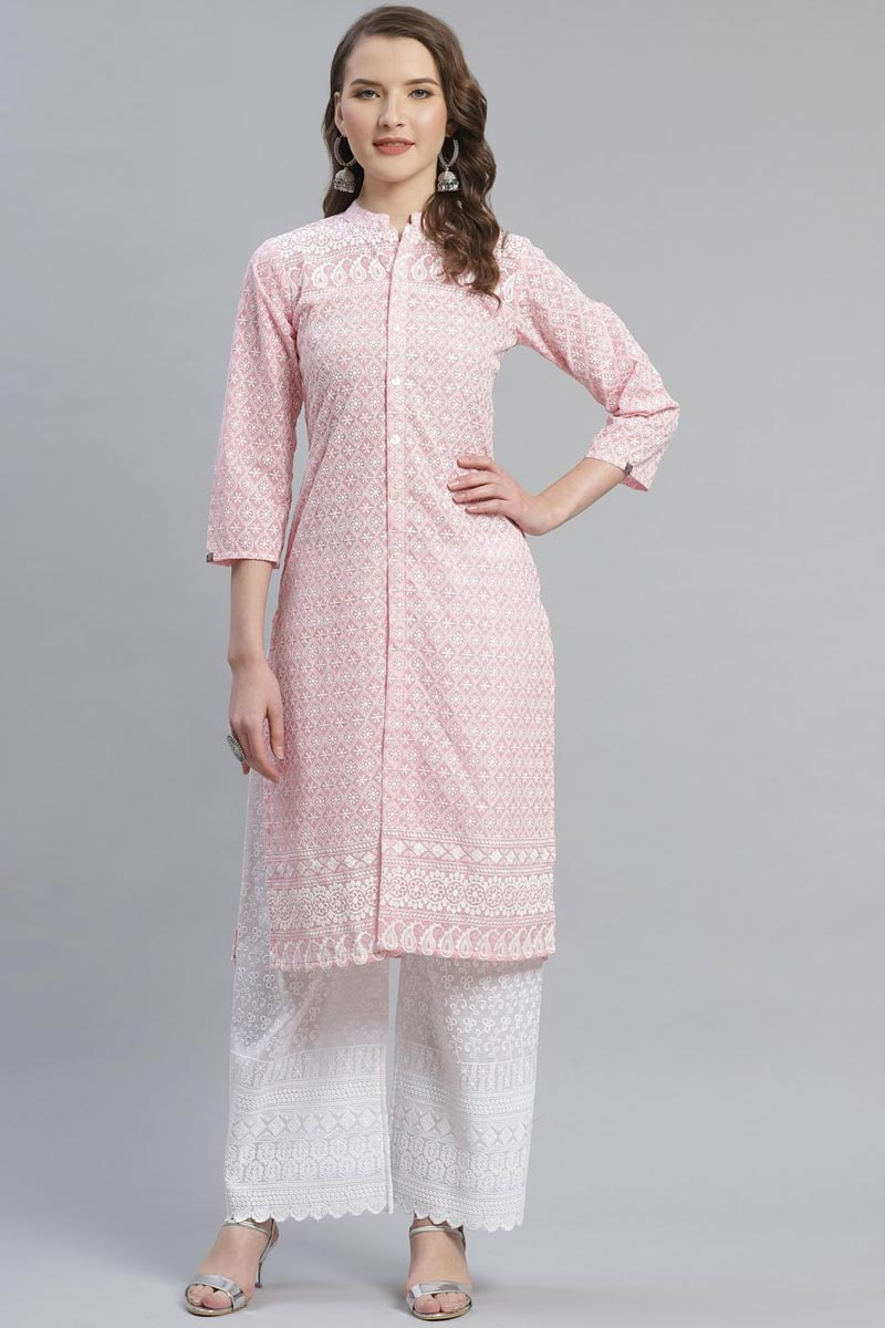 Exclusive Cotton Fabric Festive Wear Fancy Pink Color Kurti With Palazzo