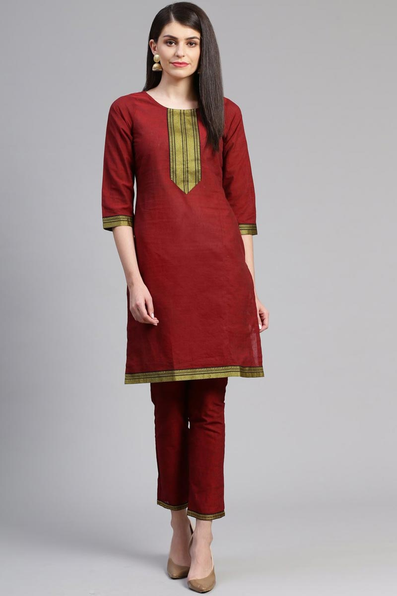 Exclusive Casual Wear Chic Cotton Fabric Kurti With Bottom In Maroon Color