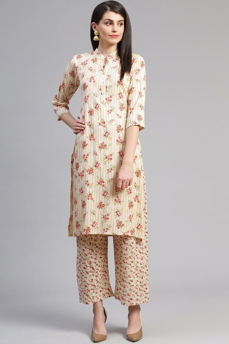 Exclusive Casual Wear Rayon Fabric Chic Beige Color Kurti With Bottom