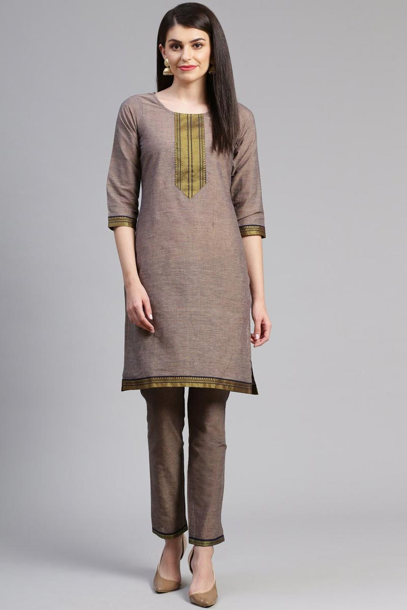 Exclusive Casual Wear Chic Dark Beige Color Kurti With Bottom In Cotton Fabric