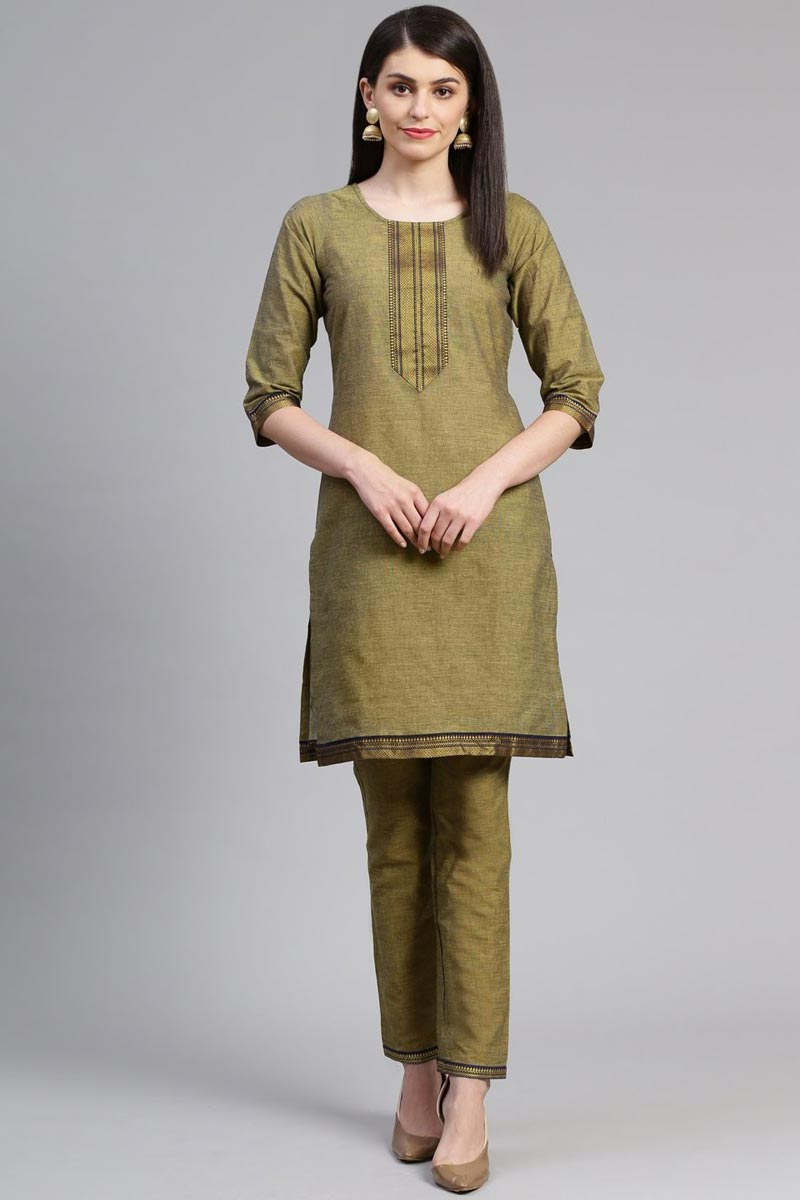 Exclusive Green Color Casual Wear Fancy Cotton Fabric Kurti With Bottom