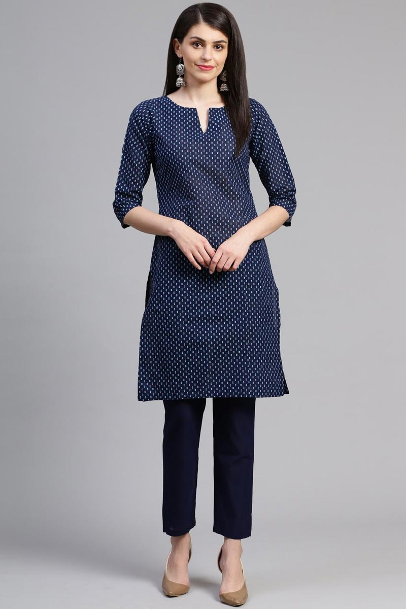 Exclusive Casual Wear Cotton Fabric Fancy Navy Blue Color Kurti With Bottom