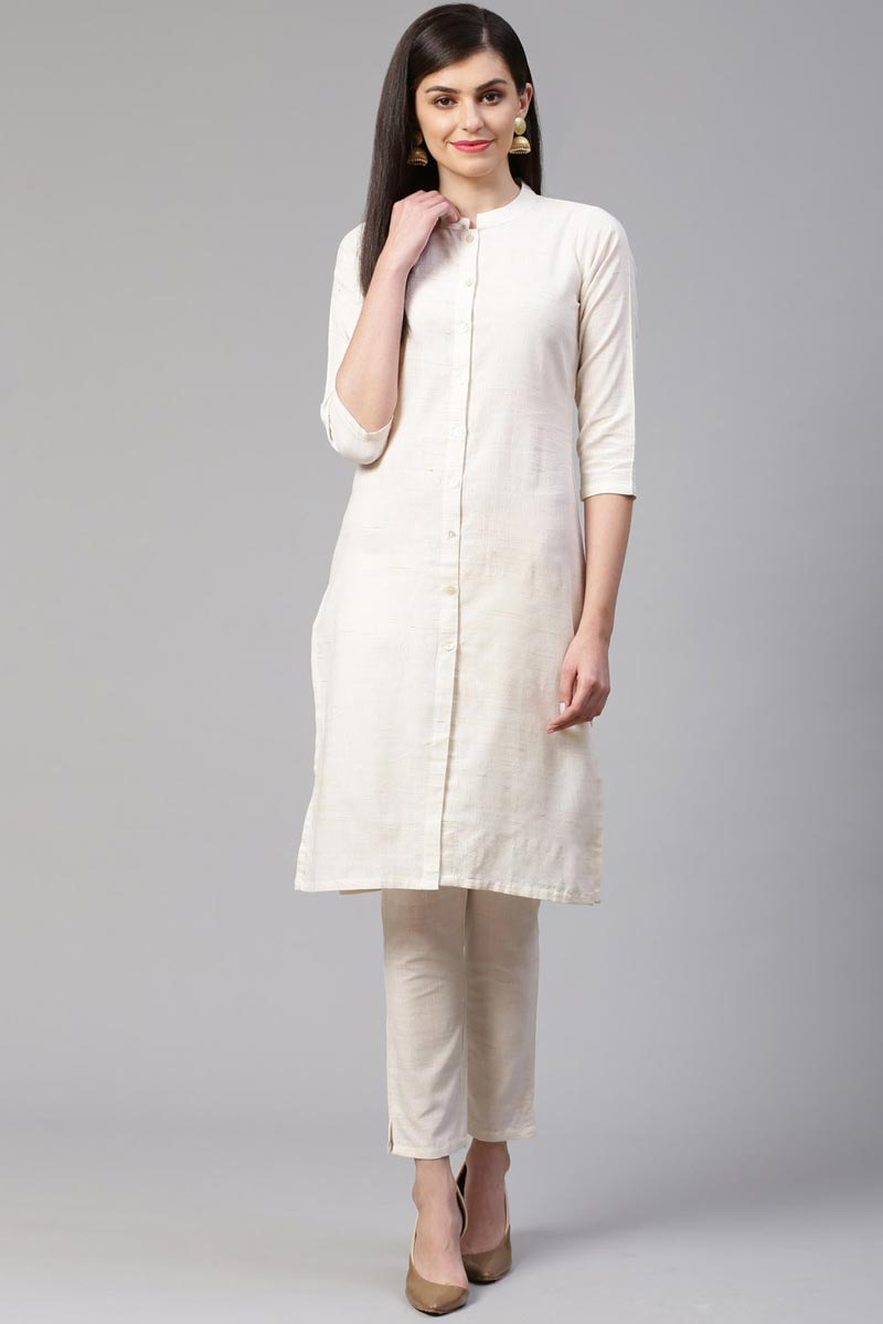 Exclusive Casual Wear Fancy Cotton Fabric Kurti With Bottom In Off White Color