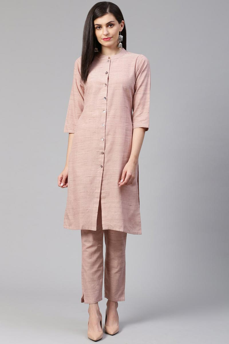 Exclusive Casual Wear Chic Cotton Fabric Kurti With Bottom In Pink Color