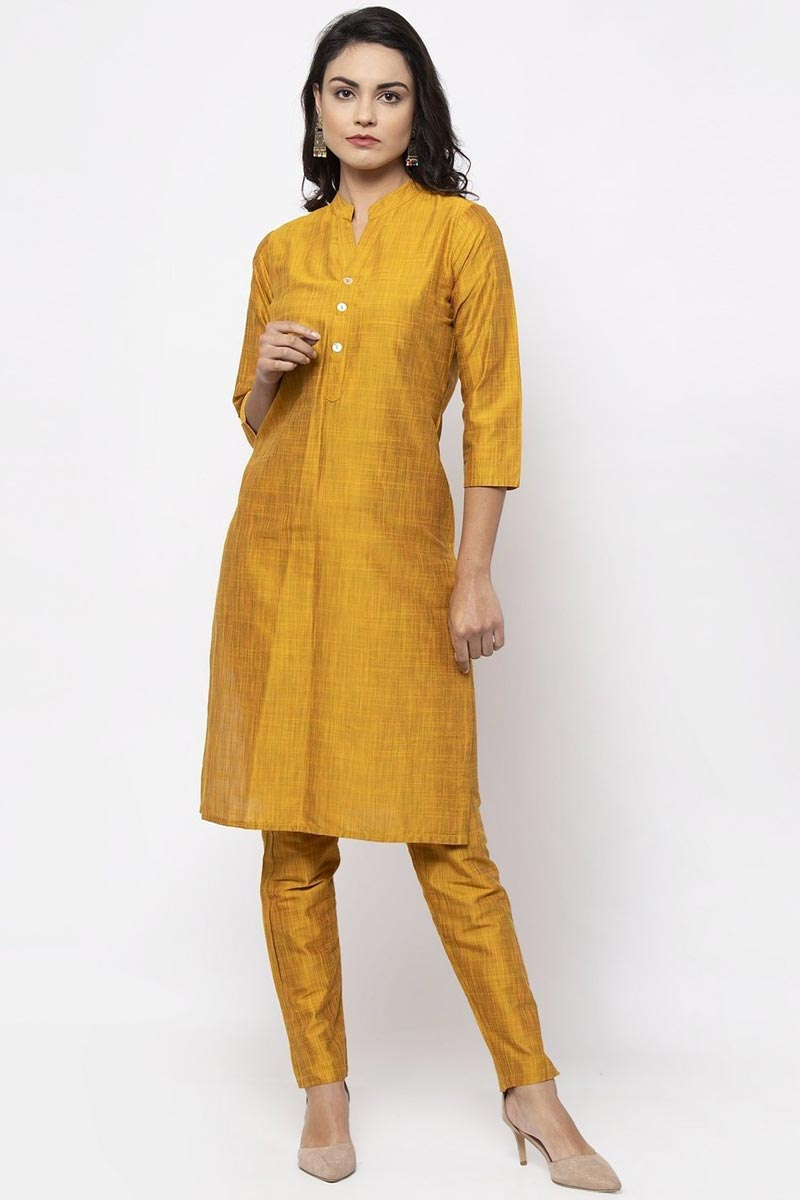 Exclusive Casual Wear Cotton Fabric Chic Mustard Color Kurti With Bottom