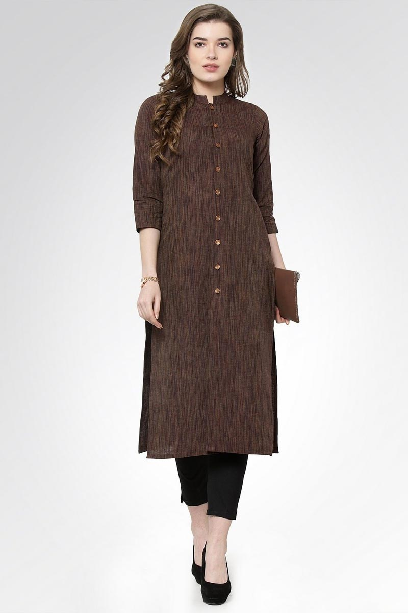 Exclusive Festive Wear Chic Cotton Fabric Kurti With Bottom In Brown Color