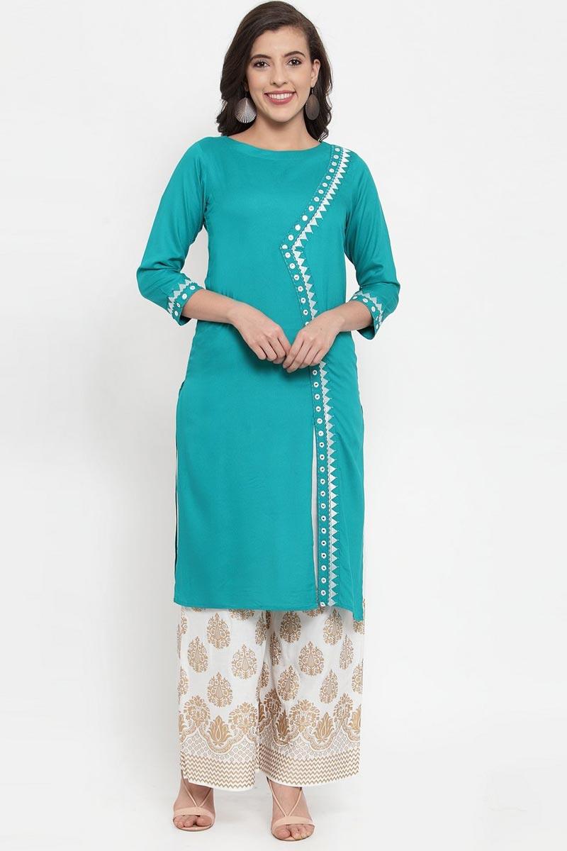 Exclusive Festive Wear Rayon Fabric Chic Cyan Color Kurti With Palazzo