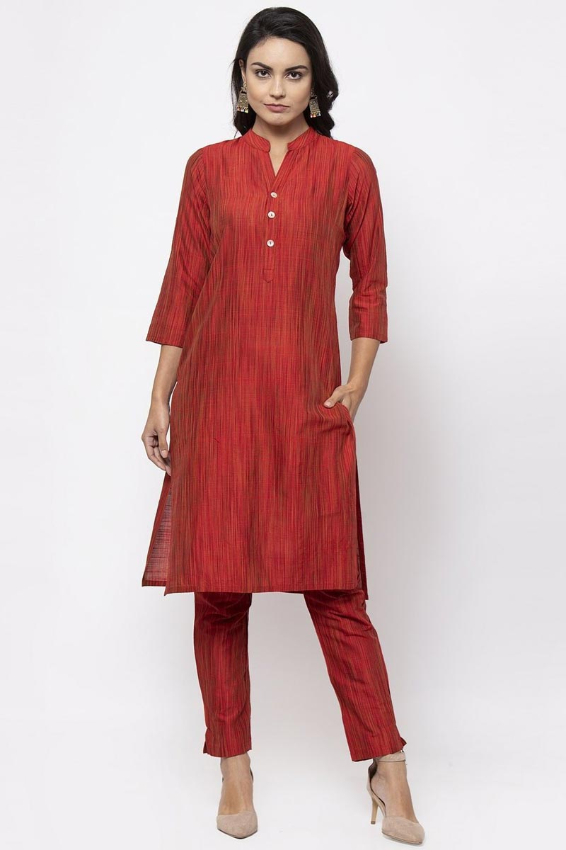 Exclusive Festive Wear Chic Red Color Kurti With Bottom In Cotton Fabric
