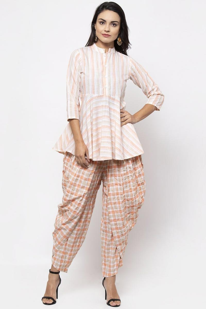 Exclusive Festive Wear Peach Color Fancy Cotton Fabric Kurti With Bottom