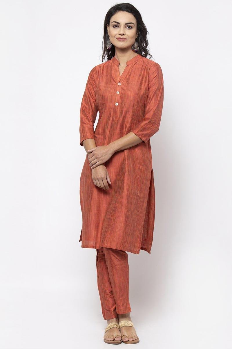 Exclusive Festive Wear Cotton Fabric Fancy Orange Color Kurti With Bottom