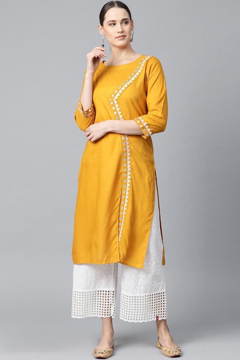 Exclusive Rayon Fabric Chic Regular Wear Mustard Color Kurti