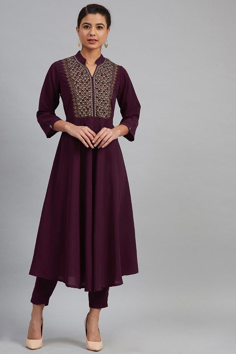 Exclusive Chic Purple Color Fancy Fabric Regular Wear Kurti