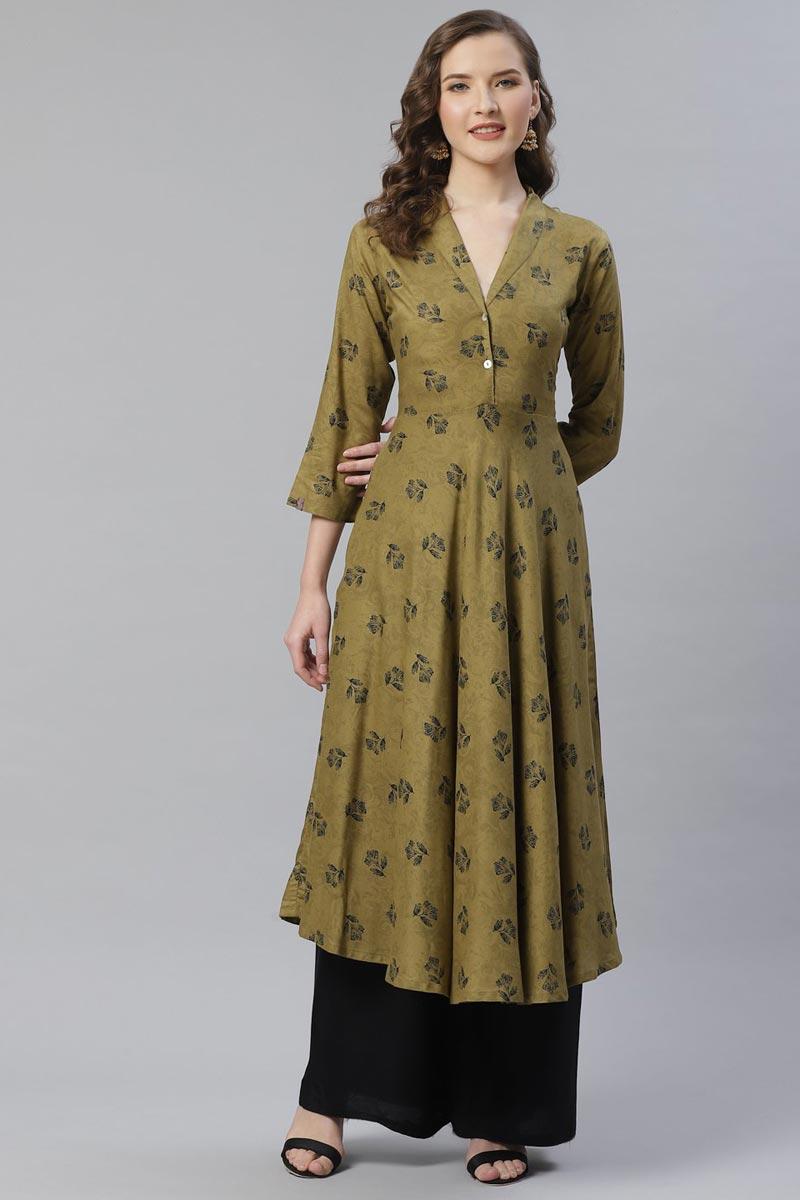 Exclusive Regular Wear Mehendi Green Color Kurti In Rayon Fabric