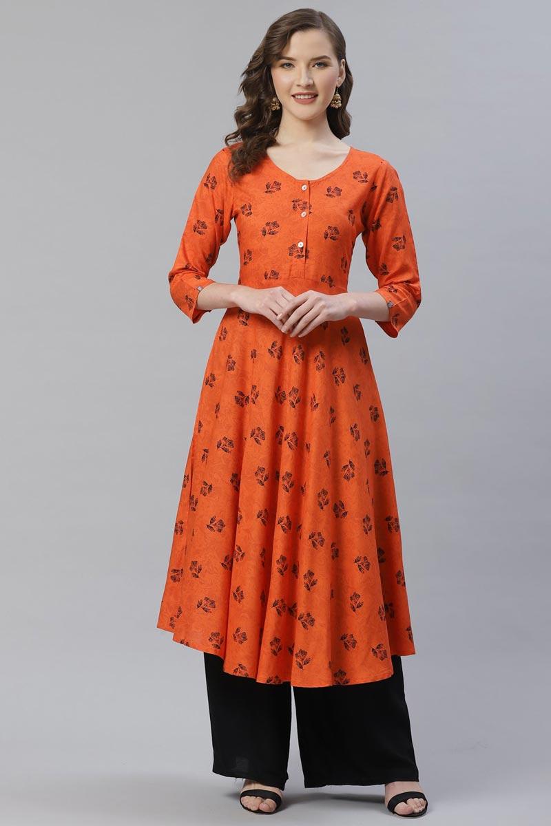 Exclusive Chic Regular Wear Orange Color Rayon Fabric Kurti