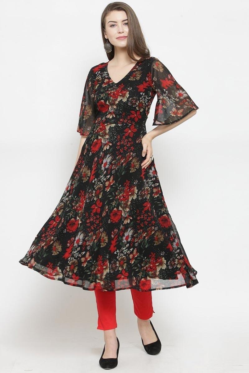Exclusive Black Color Chic Regular Wear Georgette Fabric Kurti