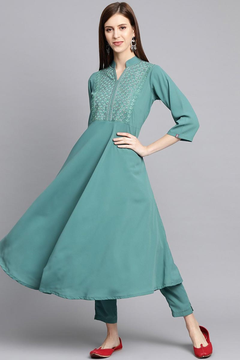 Exclusive Chic Cyan Color Fancy Fabric Regular Wear Kurti